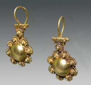 Roman Gold Earrings, ca. 1st century BC to 1st century AD.