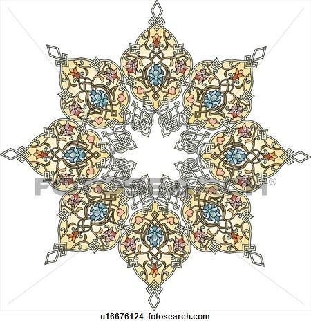 Fancy detailed design floral star View Large Clip Art Graphic