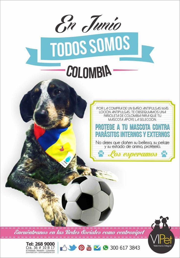 TODOS SOMOS COLOMBIA EN EL MUNDIAL. En Junio ven a VIPet y por la compra de un baño antipulgas mas loción antipulgas, te obsequiamos una pañoleta de Colombia para que tu mascota apoye la selección. Los esperamos! Recuerden buscarnos en las redes sociales como centrovipet.