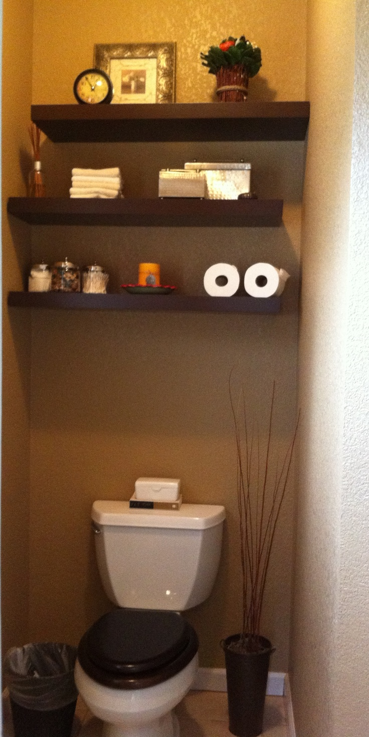 My Pinterest Inspired Project - Toilet room floating shelves.