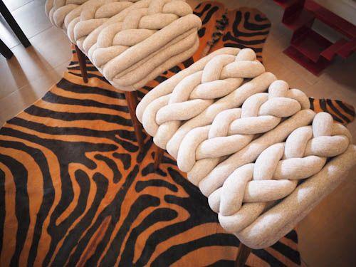 Taburetes trenzados en EbanoDeco en www.facebook.com/ebanodeco