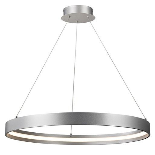 By day a #sleek aluminum ring, by night an alluring #halo. The #Galleria LED Pendant by #Alicolighting. #chic #mod  #interiors #LED #pendant #ceilinglight #style #design #interiordesign #lifestyle