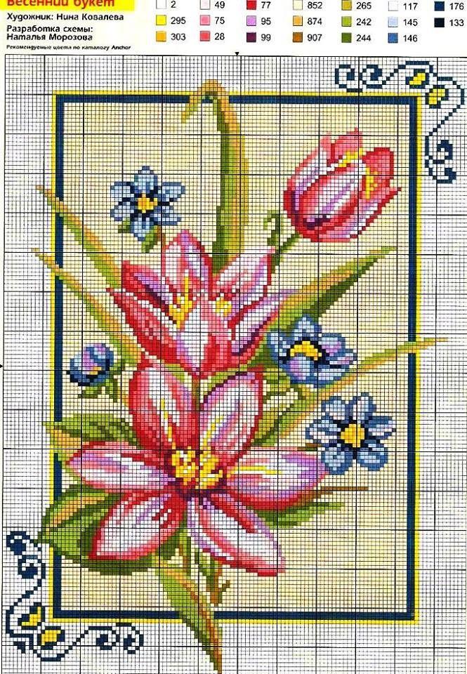 Flores punto cruz