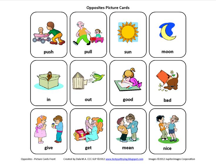 Free Mini-Set of Opposites Picture Cards - Pinned by @PediaStaff – Please Visit http://ht.ly/63sNt for all our pediatric therapy pins