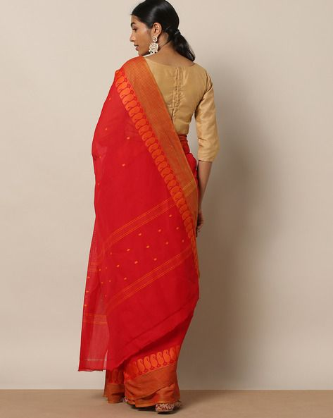 76a8effcd43074 Buy Indie Picks Women Red Kanchi Cotton Saree with Woven Border | AJIO