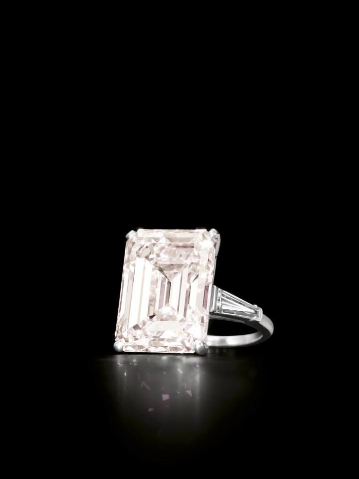 13.19-Carat Emerald-Cut Fancy Light Pink Diamond And Diamond Ring, by Cartier - From The Estate Of Ji Ing Soong