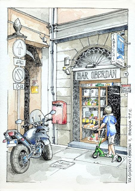 """""""Bar Oberdan"""" Jorge Royan Sketches: Italia 6º Set 2012. 17x24, Pen & Watercolor"""