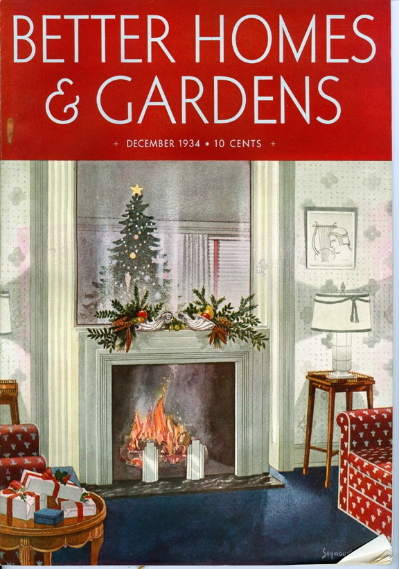 better homes and gardens december 1934 vintage christmas fireplace tree home living room cover magazine holiday vintage pinterest gardens - Better Homes And Gardens Interior Designer