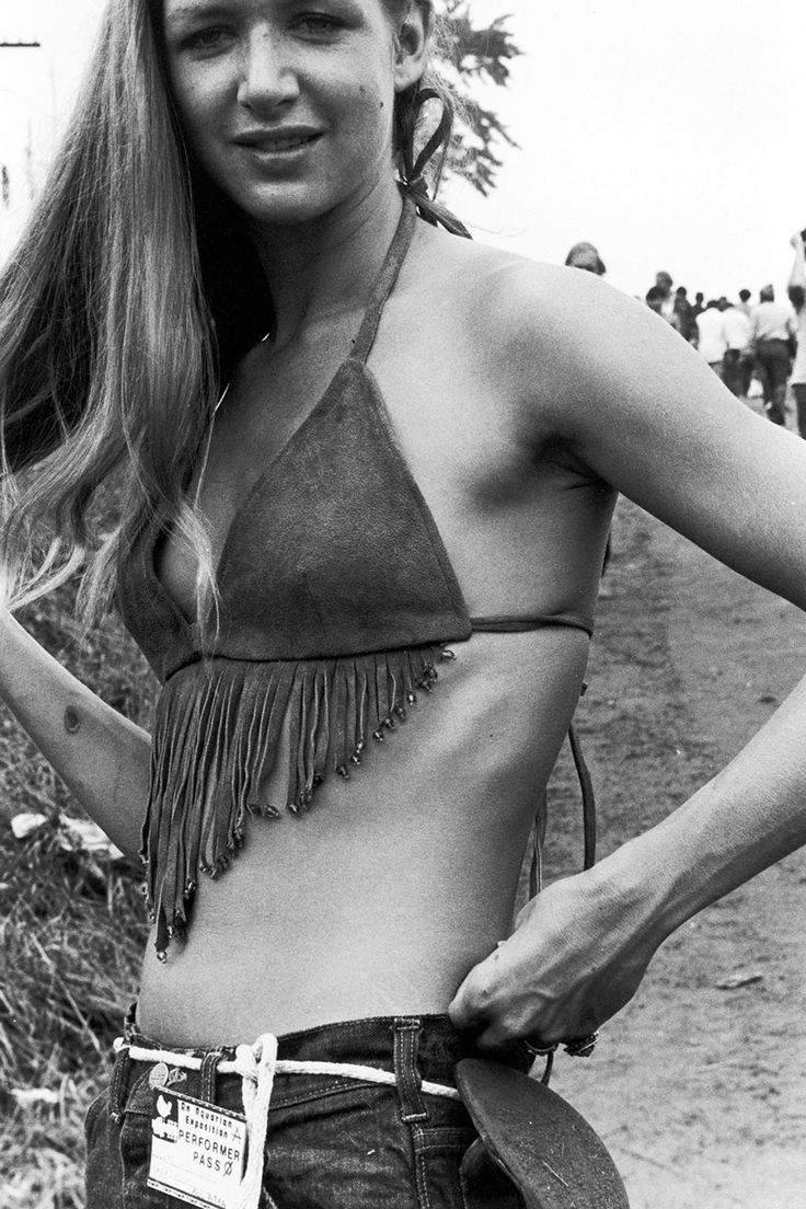 A Young Woman In A Fringed Buckskin Top At The Woodstock Music Festival
