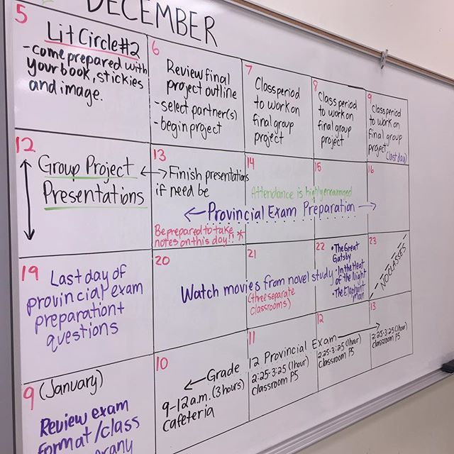 Life-size classroom calendar seemed to be a hit amongst my Grade 12s today. I think this was one of the first times they actually read what I wrote and some even snapped a few photos of what the next few weeks are going to look like Here's hoping th