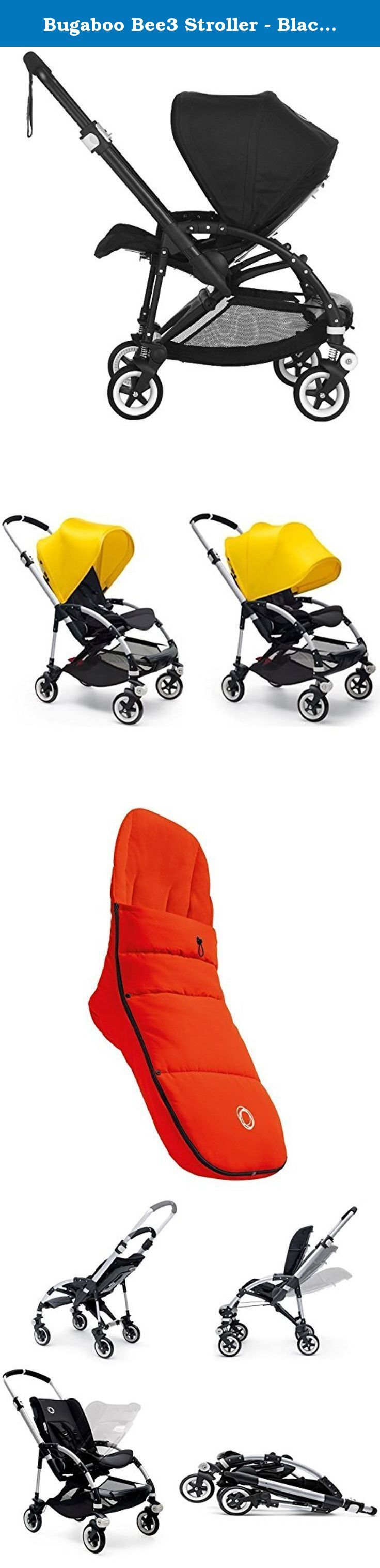 Bugaboo Bee3 Stroller - Black - Black - Black with Bugaboo Universal Footmuff (Orange). The Bugaboo Bee3 Complete All Black Base includes everything you need for the stroller, including the base, seat, seat fabric, and extendable hood. For parents who live life on the fly, Bugaboo makes life even easier with the new Bugaboo Bee3. The 3rd generation urban stroller for newborns and toddlers offers your child even more comfort and now features an easy-to-carry bassinet, brand new fabrics and...
