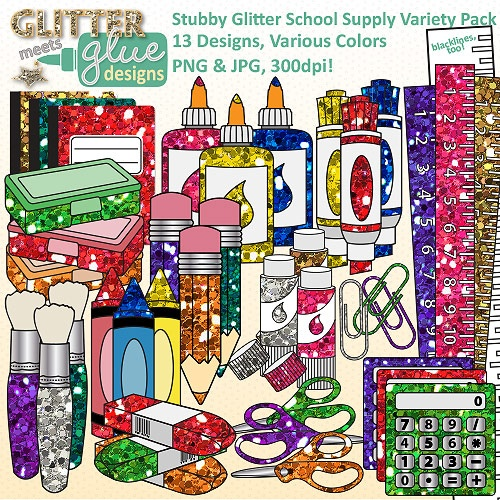Back to School Clipart Variety Pack- Stubby Glitter School Supplies - 104 Images #clipart #teaching #backtoschool