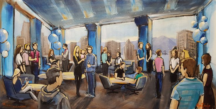 """""""Plentyoffish Office Party"""" by Firebird Live Art. This piece was painted at the Plentyoffish offices in Vancouver. The stunning view of Coal Harbour from the office windows made the perfect backdrop for the party and the painting."""