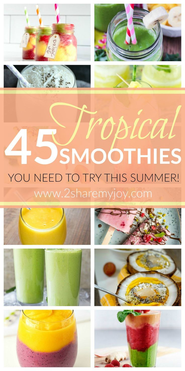 Tropical Smoothie Recipes: 45 Smoothies filled with tropical fruits like pineapple, coconut, oranges, passion fruit, melon, mango and more. Try these vitamin filled refreshments this summer! Are you ready for summer? In the summer heat a fresh vitamin filled smoothie is the perfect drink, breakfast or healthy snack. Some of these tropical smoothie recipes even contain vegetables and herbs!