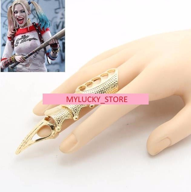 Suicide Squad Harley Quinn Golden Bone Ring Gothic Punk Cosplay Costume Choker