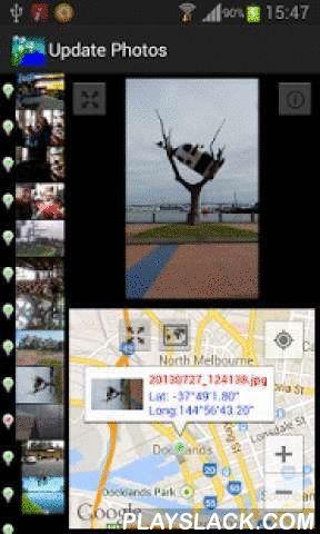 Photo GPS Free  Android App - playslack.com ,  Deze app zal;- Het zoeken naar foto's op uw apparaat,- Weergave foto's in lijst bladeren die aangeeft of er een GPS-locatie verbonden aan de foto,- Foto's selecteren om de locatie te tonen op Google Maps,- Ziet u al uw foto's op Google Maps - afhankelijk van het aantal foto's kan het enige tijd duren.Soms, als foto's zijn genomen, GPS-locaties zijn niet altijd accuraat of u kunt foto's met apparaten die niet zijn uitgerust met…