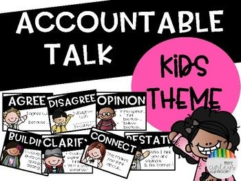 This product includes 7 accountable talk stem posters Agree Disagree Opinon Building Clarify Connect Restate These accountable talk stem posters are (MELONHEADZ) Kids themed. Visit my store for other themes!