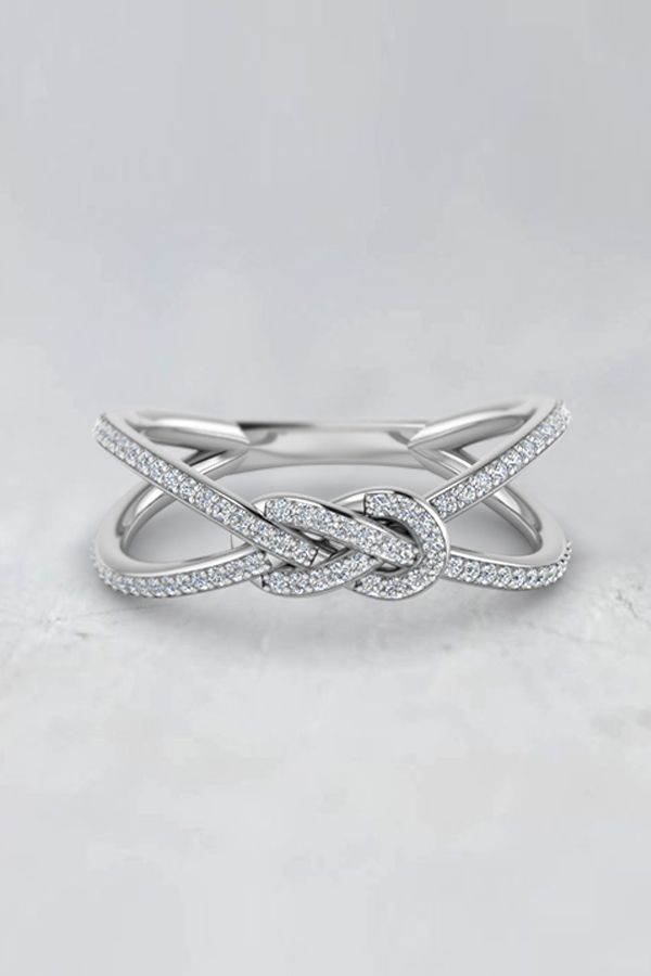 Love Knot Double Split  Womens Wedding Bands with Diamonds in 14K White Gold exclusively styled by Fascinating Diamonds