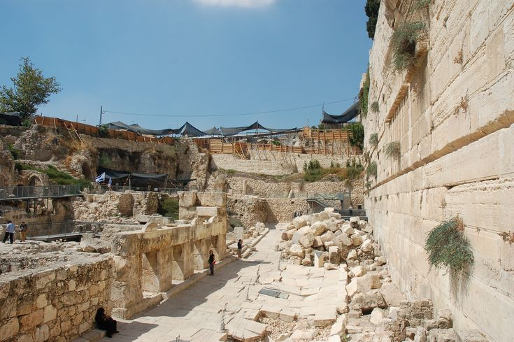 Archeology Site - Outside Southwest Corner Temple Mount - Jerusalem Israel | Archeological site outside the southwest corner of the Temple Mount in Jerusalem's Old City.