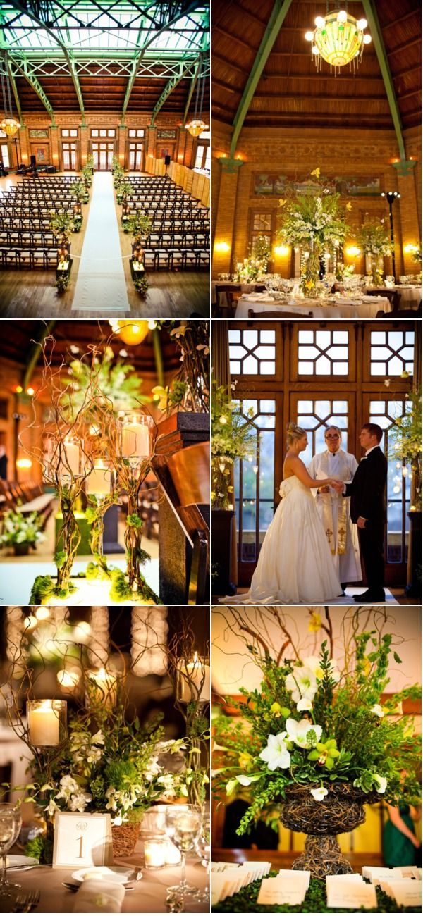 This space called for some tall, spectacular floral arrangements! Wedding Photography: Amanda Hein Photography / Wedding Venue: Cafe Brauer at the Lincoln Park Zoo in Chicago, Illinois / Wedding Coordination: Bliss Weddings and Events / Floral Design + Lighting: Ashland Addison Florist Company / Featured on Style Me Pretty - Illinois http://StyleMePretty.com/illinois-weddings/2012/04/11/cafe-brauer-wedding-by-amanda-hein-photography-bliss-weddings-and-events/