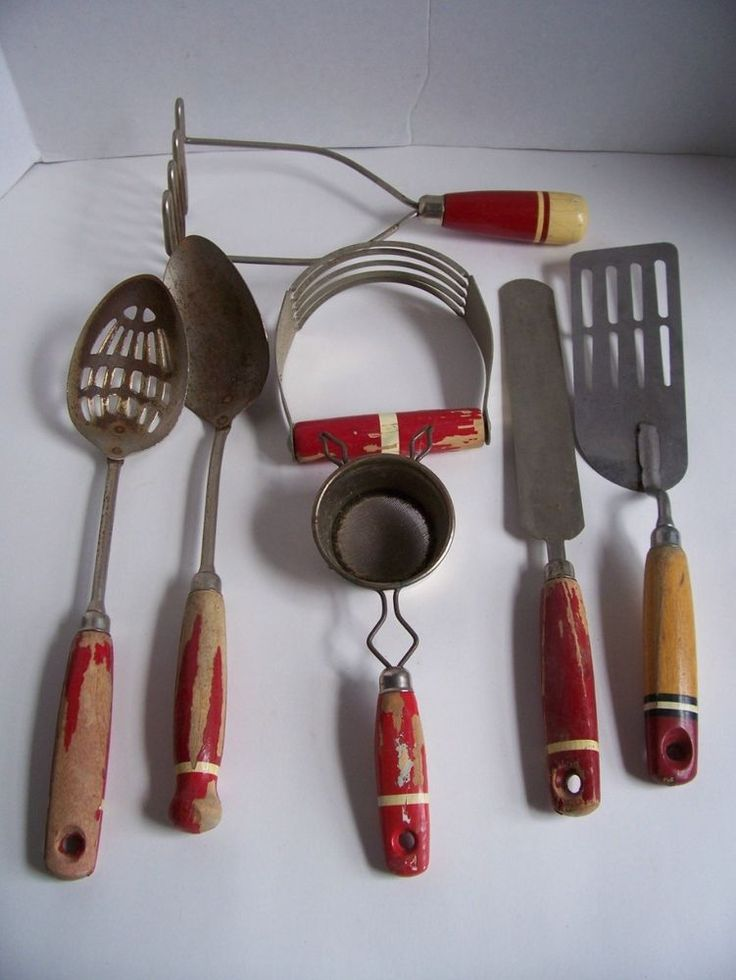 Antique Lot Red Wood Handle Kitchen Utensils Tools Ekco A J Vtg Prim Red Cream Pastries