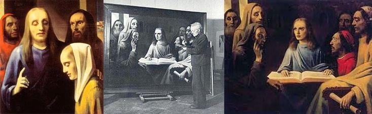 """Hermann Goering, el lugarteniente de Hitler, era coleccionista de arte. Robó, extorsionó y ocasionalmente compró pinturas, pero su gran meta era un Vermeer original. Hitler tenía dos. Un comerciante de arte holandés llamado Han van Meegeren le vendió uno, """"Cristo con la Adúltera"""" (a la izquierda). Tras la guerra, van Meegeren fue juzgado por traición, una infracción que se pagaba con la muerte, pues la obra era considerada un tesoro nacional holandés. Pero el comerciante reveló que no le…"""