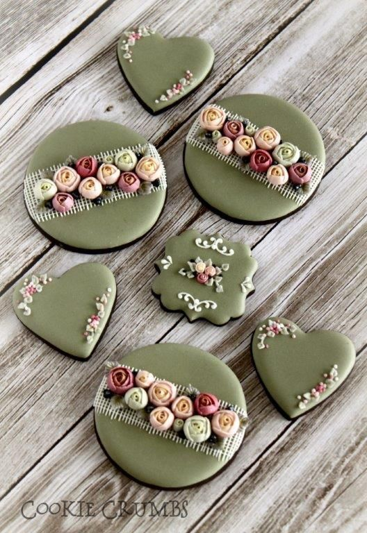 country shabby chic floral cookies   Cookie Connection