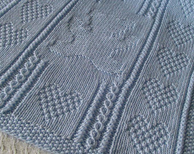 Teddy Bear * & cuori bambino coperta, coperta del bambino blu, mano maglia bambino coperta, coperta di orsacchiotto, Heirloom Baby Blanket, Nursery Decor