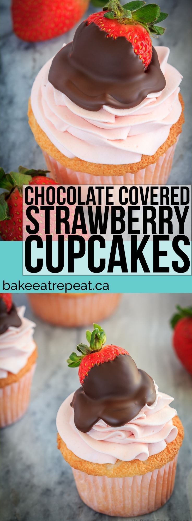 These chocolate covered strawberry cupcakes are the perfect sweet treat for Valentine's Day - angel food cupcakes with strawberry whipped cream frosting! | Posted By: DebbieNet.com