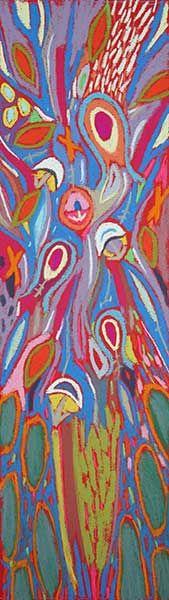 """Tableau """"Fleur d4artifice rouge 2"""" de Vincent Dufour - Pastel sec de 20/70cm [tableau de style figuration libre et nouvelle figuration]"""