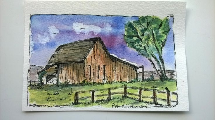 Prairie Barn . . Postcard size, pen and watercolour.