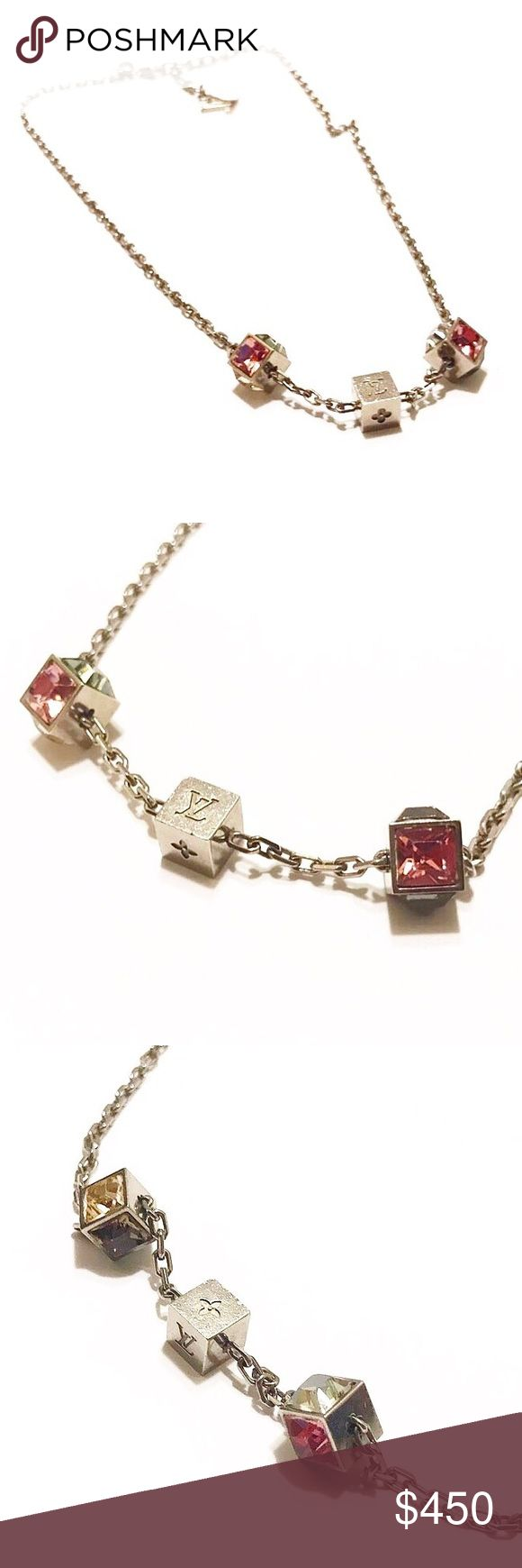 """Authentic Vuitton Swarovski Gamble Necklace Authentic Louis Vuitton Gamble Necklace/Includes LV Storage Box/Date Code:GL1101/Made in Italy/Silver-Tone and Swarovski Crystals/Necklace measures 19""""(adjustable) Louis Vuitton Jewelry Necklaces"""