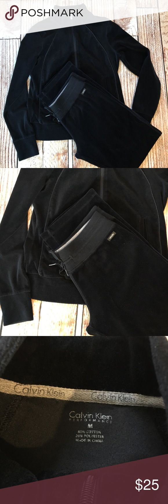 """Calvin Klein Performance black velour track suit Calvin Klein Performance black velour track suit. Top is a medium and bottoms are a small.  🌵Bundle deals available. I carry various sizes/brands. 🌵No trades, holds, or modeling. 🌵All reasonable offers accepted only through """"offer"""" button. No lowball offers please. Please submit final offer willing to pay as I prefer to not counteroffer. 🌵Happy Poshing! Calvin Klein Pants Track Pants & Joggers"""