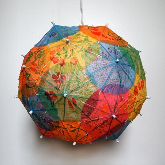 Cocktail Umbrella Pendant Light  Shade -- I SWEAR I am going to make some of these!  In pink!