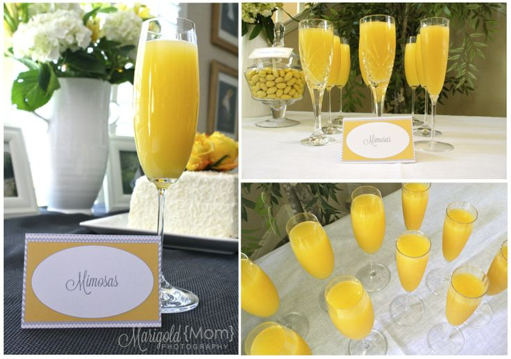 Mimosas! Grey & Yellow Bridal Shower
