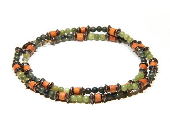 Retrouvez cet article dans ma boutique Etsy https://www.etsy.com/fr/listing/268678444/collier-hommes-boho-olive-jade-bois