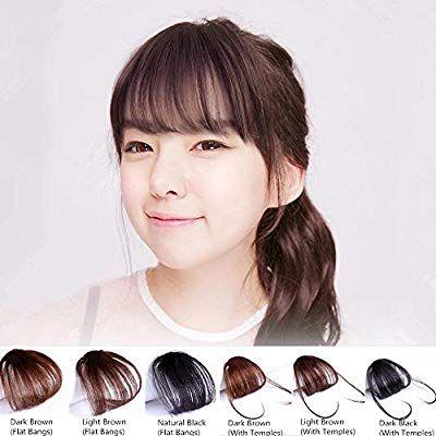 57b978037b1 Amazon.com: Shinon Natural Real Human Hair Flat Bangs/Fringe Hand ...