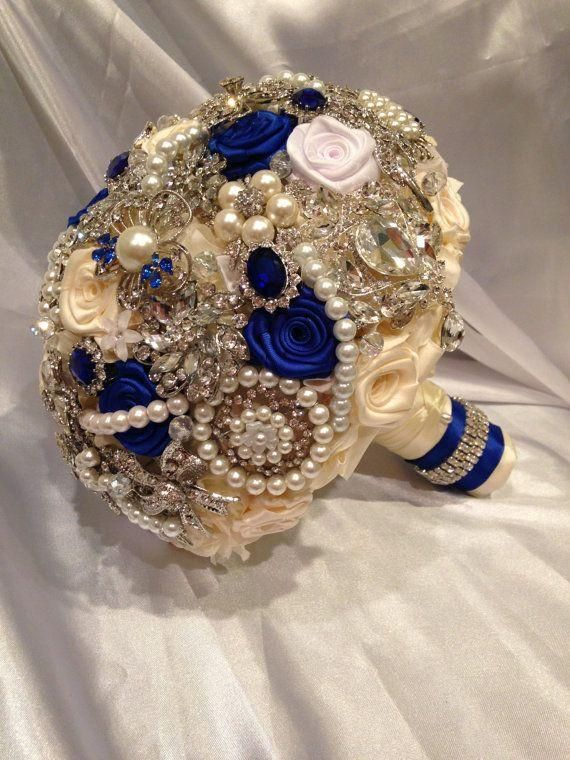 Blue Brooch Bouquet. Deposit on custom White, Ivory, Royal Blue, Sapphire and Silver Wedding Crystal Bling Heirloom Broach Bouquet