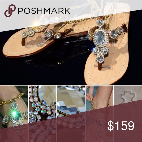 Gorgeous Jewelry Shoes Pasha CORINTH GOLD/BRONZE Jeweled with Real top quality Bohemian Swarovski style crystals from European Company called Preciosa and Mother of Pearl and Coral from Indian Ocean, own hired divers and own cutters. Only highest grade natural leather. Each pair is created by master shoemakers by hand that takes somewhere around 8 to 12 hours of work Fantastic golden gift box (collapsible) with metal corners and real organza sack.  PLEASE ORDER ONE SIZE UP, ESPECIALLY FROM…