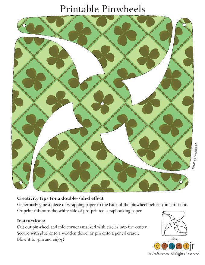 St. Patrick's Day Printable Pinwheels Shamrock Pattern Pinwheel Craft – Craft Jr.