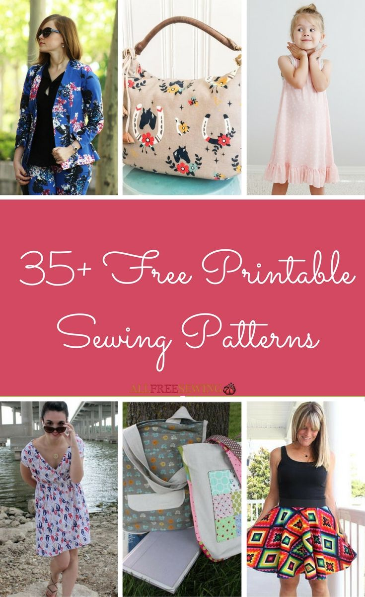35+ Free Printable Sewing Patterns | New to sewing? Then you absolutely NEED these printable sewing patterns!