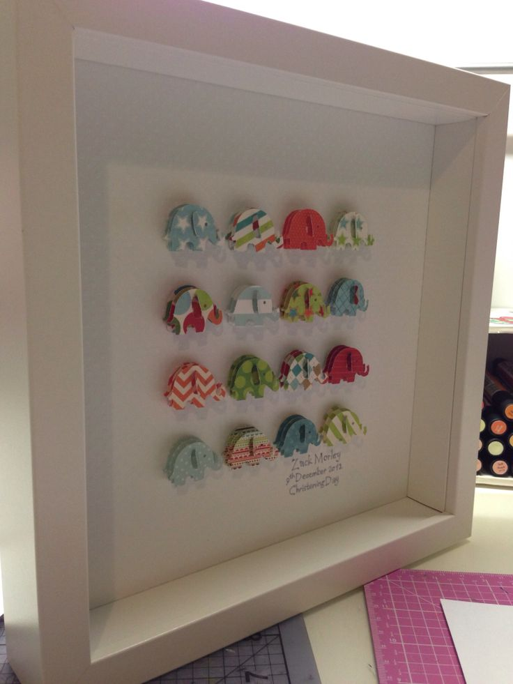 Paper punched shapes framed and personalised @ Lilibets Monkey Hut.