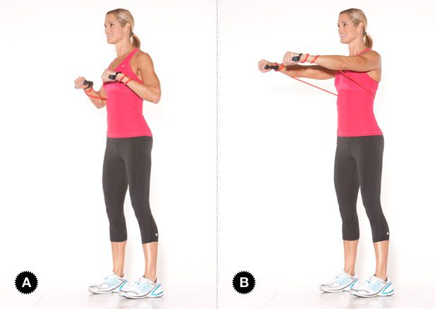 Simple chest press with an exercise band. For more fitness ...