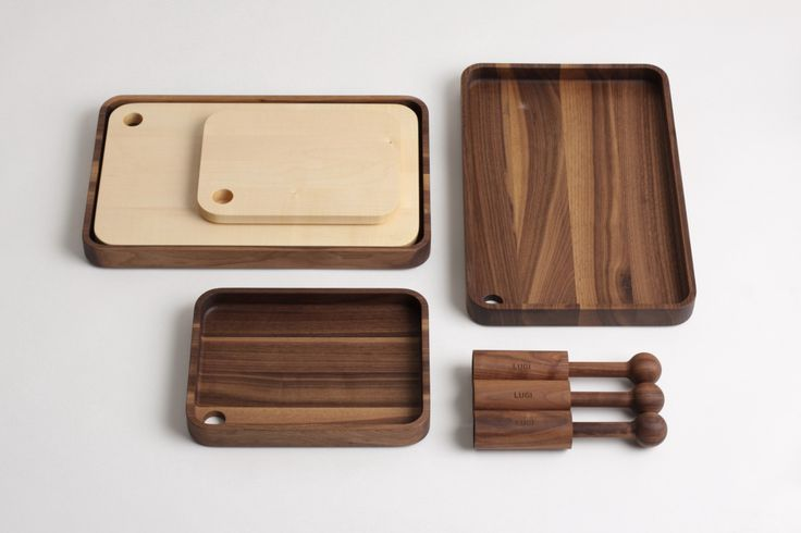 LUGI set of accessories made of solid american walnut and maple, design by Matej Chabera