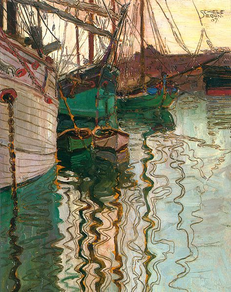 Harbor of Trieste (Oil Painting) - Artist: Egon Schiele, 1907, Vienna, Austria