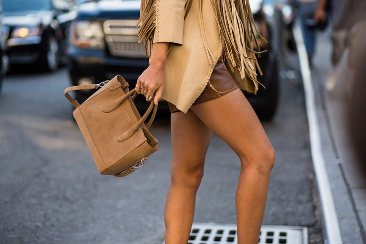 SS16 streetstyle details  suntouched skin  Brown bag  fringe jacket  shirt cappucino color leather skirt