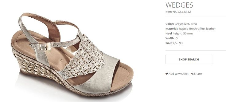 Gabor  WEDGES Item-Nr. 22.823.32 Color: Grey/silver, Ecru Material: Reptile-finish/effect leather Heel height: 50 mm Width: G Size: 2,5 - 9,5