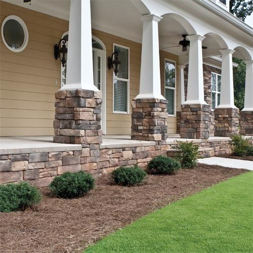 Faux Stone Siding Ideas- Love the coloums. We need to replace ours anyways, I like how strong it makes them look.