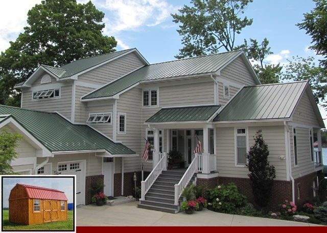 Metal Roof And Stucco Color Combinations And R Panel Metal Roofing Colors Color Colors Combinations Metal In 2020 Green Roof House House Paint Exterior House Roof