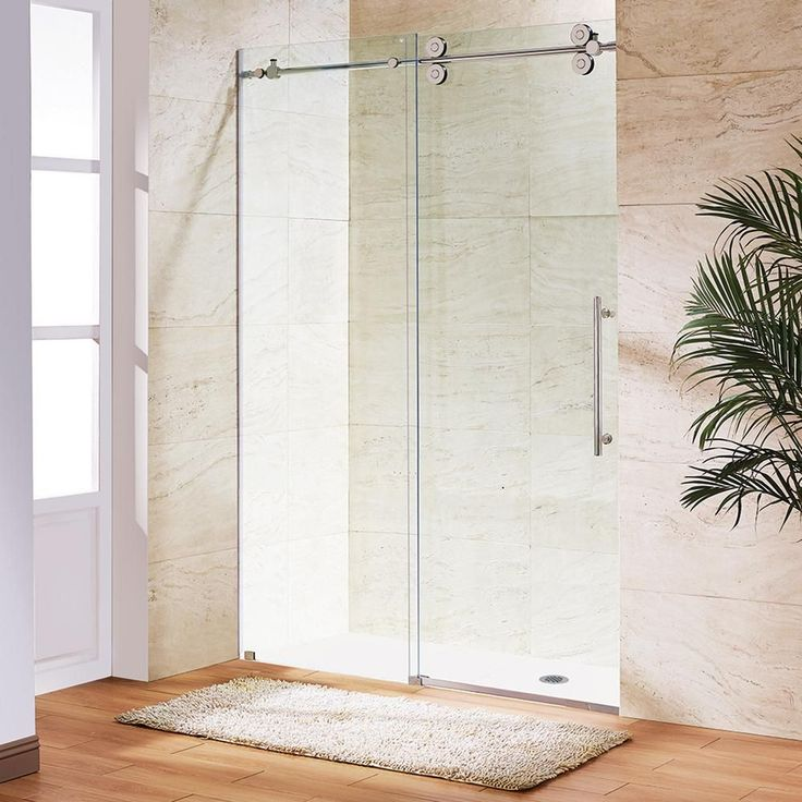Vigo Elan 64 in. x 74 in. Frameless Sliding Shower Door in Chrome with Clear Glass-VG6041CHCL6474 - The Home Depot